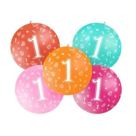Balon 1m, 1st Birthday, nadruk, Pastel mix, 1 szt.