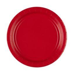 Talerze papierowe - czerwony 17,7 cm, 8 szt.