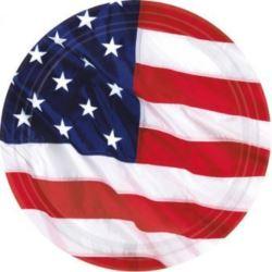 balony, balony na hel, dekoracje balonowe, balony Łódź, balony z nadrukiem, Talerze USA 18 cm 8 szt.
