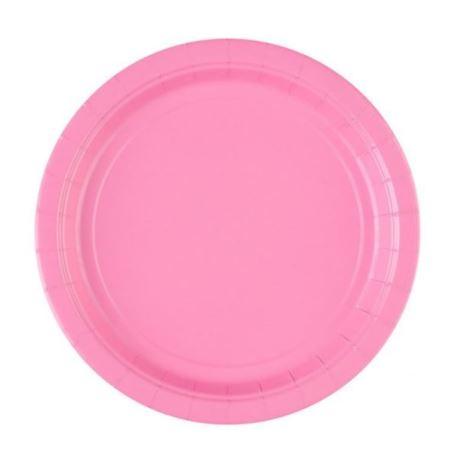 Talerze papierowe - różowy 22,8 cm, 8 szt.