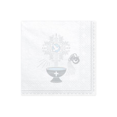 Serwetki Chrzest Święty, 33x33cm, srebrny