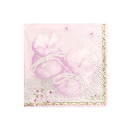Serwetki Buciki, różowy, 33 x 33cm