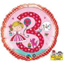 """Balon, foliowy 18"""" QL CIR """"3 dla dziewczynki"""""""