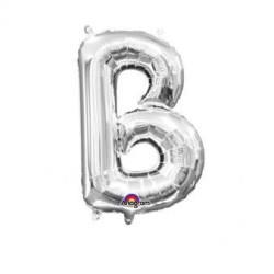 "Balon, foliowy literka mini ""B"" 22x33 cm, srebrna"