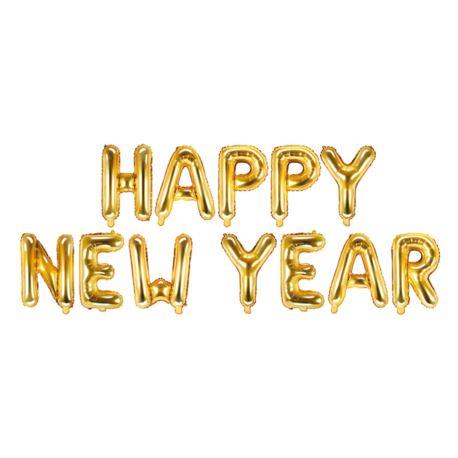 balony, balony na hel, dekoracje balonowe, balony Łódź, balony z nadrukiem Balon foliowy Happy New Year, 370x35cm, złoty