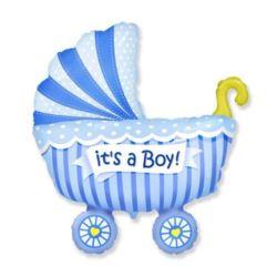 """balony, balony na hel, dekoracje balonowe, balony Łódź, balony z nadrukiem, Balon foliowy 14"""" FX - """"Wózek dla chłopca"""""""