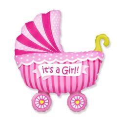 """balony, balony na hel, dekoracje balonowe, balony Łódź, balony z nadrukiem, Balon foliowy 14"""" FX - """"Wózek dla dziewczynki"""""""