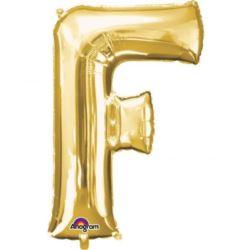 """Balon, foliowy Literka Mini """"F"""" 22x33 cm, złoty"""