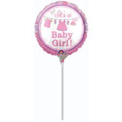 Balon foliowy mini okragly Baby Shower Dziewczynka