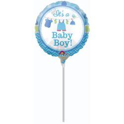 Balon foliowy okragly mini Baby Shower Chlopiec A1