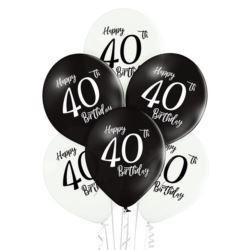 """Balony 12"""" 40. urodziny 6 szt."""
