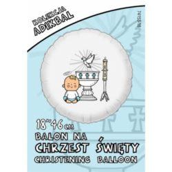 balony, balony na hel, dekoracje balonowe, balony Łódź, balony z nadrukiem, Balon ADIKBAL 18'' Chrzest Chłopiec
