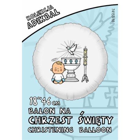 balony, balony na hel, dekoracje balonowe, balony Łódź, balony z nadrukiem Balon ADIKBAL 18'' Chrzest Chłopiec
