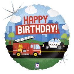 """balony, balony na hel, dekoracje balonowe, balony Łódź, balony z nadrukiem, Balon Grabo 18"""" Emergency-Vehicle-B-Day"""