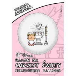 balony, balony na hel, dekoracje balonowe, balony Łódź, balony z nadrukiem, Balon ADIKBAL 18'' Chrzest Dziewczynka
