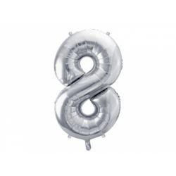 "Balon foliowy Cyfra ""8"", 86 cm, srebrny, 1 szt."