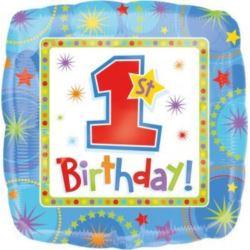 Balon, foliowy 1 urodziny chłopiec