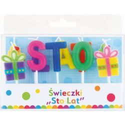 """balony, balony na hel, dekoracje balonowe, balony Łódź, balony z nadrukiem, Świeczki pikery """"Sto Lat"""", 10 szt."""