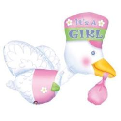 "Balon, foliowy AWK ""Stork its a Girl"""