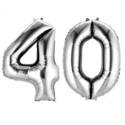 "Balony foliowe cyfry ""4 i 0"" - srebrne"