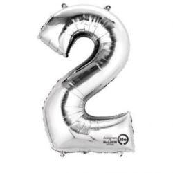"Balon, foliowy Cyferka mini ""2"" 20x33 cm srebro"