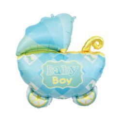 Balon foliowy Wózek, niebieski, 60 cm