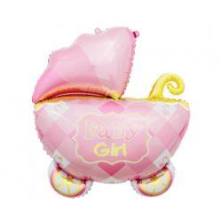 Balon foliowy Wózek, różowy, 60 cm