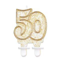 """Świeczka cyferka """"50"""", złoty kontur"""