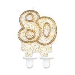 """Świeczka cyferka """"80"""", złoty kontur"""