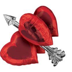 Balon foliowy serca ze strzałą - 66 x 68 cm