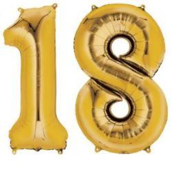 """Balony foliowe cyfry """"1 i 8"""" - złote"""