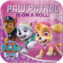 Talerzyki papierowe Psi Patrol, różowy 23 cm 8 szt