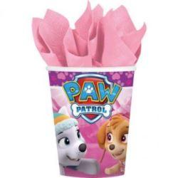 Kubeczki papierowe Psi Patro, różowy 266 ml 8 szt.