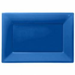 Talerze plastikowe 33 x 23 cm Niebieskie