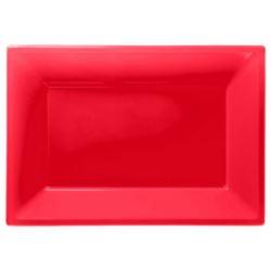 Talerze plastikowe 33 x 23 cm czerwony