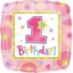 Balon, foliowy 1 urodziny - dziewczynka