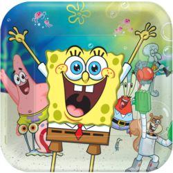 Talerze SpongeBob papier kwadratowe 23 cm 8szt.
