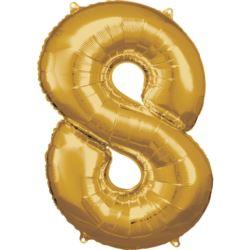 Duza cyfra 8 zloty balon foliowy 53 cm x 83 cm