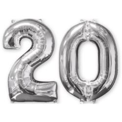 "Balon foliowy ""20"" srebro, 66 cm - 2 szt."