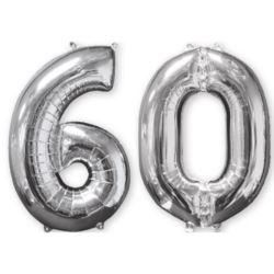 "Balon foliowy ""60"" srebro, 66 cm"