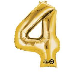 """Balon foliowy Cyfra """"4"""" - złoto 66x88 cm"""