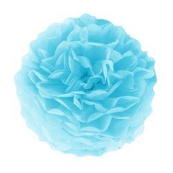 Pompon bibułowy, błękit, 35 cm