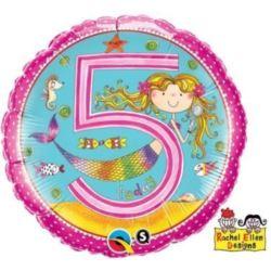 """Balon, foliowy 18"""" QL CIR """"5 dla dziewczynki"""""""