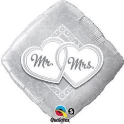 "Balon, foliowy 18"" QL SQR ""Mr. & Mrs."