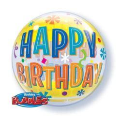 "Balon, foliowy 22"" QL Bubble Poj. ""Birthday Fun&Ye"