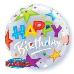 """Balon, foliowy 22"""" QL Bubble Poj.""""Happy Birthday z"""
