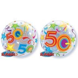 """Balon, foliowy 22"""" QL Bubble Poj. """"50 Urodziny"""""""