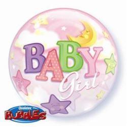 "Balon, foliowy 22"" QL Bubble Poj. ""Baby Girl-Księż"