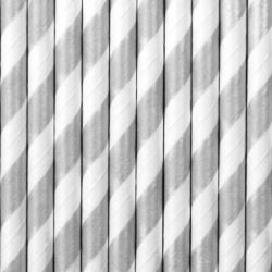 Słomki papierowe, srebrny, 19,5 cm