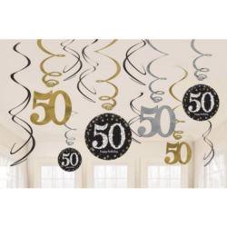 """Dekoracyjne sprężynki """"50"""" 12 szt.złoto&srebro"""